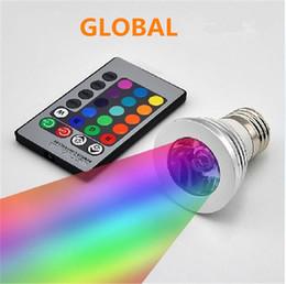 Großhandel LED RGB-Glühlampe 16 Farbwechselnde 3W-LED-Scheinwerfer RGB-LED-Glühlampe E27 GU10 E14 MR16 GU5.3 mit 24-Tasten-Fernbedienung 85-265V 12V