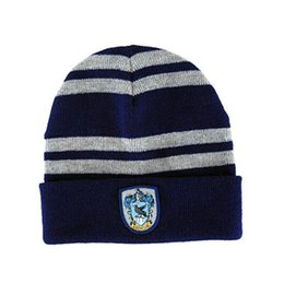 School Beanies UK - Quality Harry Potter Beanie Gryffindor Slytherin Skull Caps Hufflepuff Ravenclaw Cosplay Costume Caps Striped School Winter Fashion Hats 20p