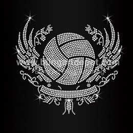 ca6d545b6 Custom Rhinestone Transfers Wholesale Canada - Crystal Volleyball Rhinestone  Iron On Heat Transfers For Clothse Decoration