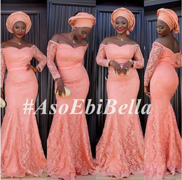 Barato Penteado Vestido De Baile Elegante-Off The Shoulder mangas compridas rendas Elegante Aso Ebi Estilo Vestidos de Noiva Mais Tamanho 2016 África Mermaid Evening Gowns Peach Prom Party Gowns