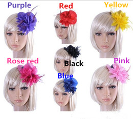 hair decorations for brides 2019 - Lace Flower And Feather Headpieces Bride Wedding Hats Headdress Bridal Fascinator Accessories For Bridesmaid Prom Hair A