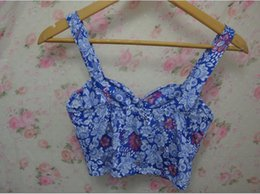 Tubes Sexy Blue Pas Cher-Gros-Vintage Style Ethnique Coton Floral Bustier Crop Tops Femmes Sexy Camisole Fitness Bleu Tube Top bretelles Bra New 2015 B6-5-136B