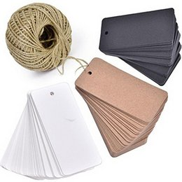 China 300PCS Kraft Paper Gift Tags, Blank Card with 100 meters Natural Jute Twine for Crafts & Price Tags Lables (Brown, White, Black) suppliers