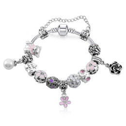 $enCountryForm.capitalKeyWord NZ - Newest Charm Bracelets with Pink Enamel Bear Girl Charms & Pearl & Flower Dangles Fashion Snake Chain Bangle Bracelets for Women BL106