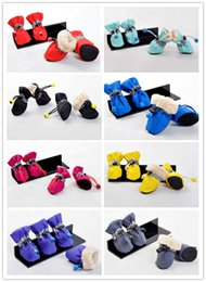 Dog Boots Free Shipping Canada - Free shipping new style anti-waterpet dog puppy autumn fall winter snow warm fashion boot reflective shoes 10sets lot