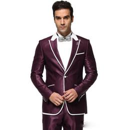 New Design Custom Made Handsome Peaked Lapel Wedding Suits Purple Tuxedos Formal Blazer Business Wears Groomsman Jacket Pants Budget Black