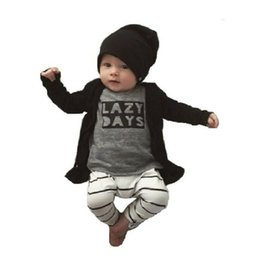 $enCountryForm.capitalKeyWord Canada - Grey Lazy Days Baby Girls Clothes Set Baby T-Shirt Pant Suits Cotton Infant Clothing Suits Boys Outfit Tee Shirts Trouser 1 2 3Y