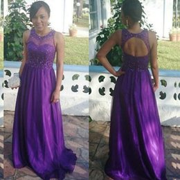 Barato Vestido De Formatura-Sparkly Africal Dress Purple Prom Dresses Sheer Jewel Neck mangas cortadas Open Back Sequins Beaded Prom Dress Formal Evening Party Gown
