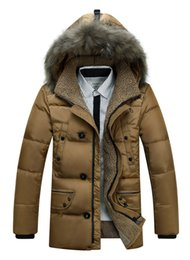 brown down parkas UK - 2017 New Fashion Warm Winter DOWN Jacket Men Mid-length Hooded Parkas Hombre Plus Size Campera Hombre Invierno Thick Overwear