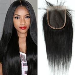 virgin hair closure bleached knots 2019 - 4x4inch Human Hair Lace Closure Free Part Virgin Mongolian Straight Hair Top Closures Bleached Knots G-EASY discount vir