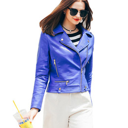 blue bikers jacket UK - WFST Blue Leather Jacket Women 2016 Veste En Cuir Femme PU Leather Suede Women's Short Motorcycle Biker Jacket Coat MF165200