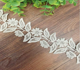 cotton lace trim yard NZ - 5 Yard White Hollow Leaf Flower Shape Lace Cotton Fabric Trim For Sewing DIY Bridal wedding Doll Cap