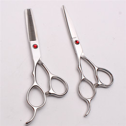 "Barber Thinning Shears Australia - C8000 6"" Japan 440C Customize Logo Red Stone Professional Human Hair Scissors Barbers' Cutting Thinning Shears Left Hand Scissors Style Tool"