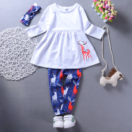 reindeer christmas suit NZ - Christmas baby girl clothes outfit long sleeve top + pants+headband lovely girls kid clothing boutique dress suit cute reindeer toddler 2-7T