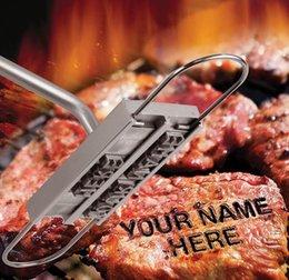 Barbacoa Barbacoa Herramientas de hierro de marca con 55 letras intercambiables Marca de fuego Alfabeto Alminum Cocina al aire libre para carne de bistec en venta