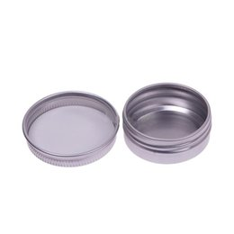 China Wholesale- Eco-Friendly Makeup Aluminium Jar Tin Pot Nail Art Lip Gloss Empty Cosmetic Containers Screw Thread Jewelry Storage Box cheap lip gloss storage suppliers