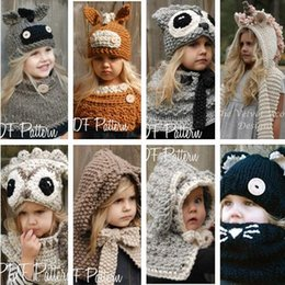 Wholesale 2 Years Kids Winter Rabbit Owl Donkey Unicorn Knitted Hat With Neck Warmer Baby Girls Boys Children Hooded Beanie Hats photography props