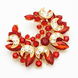 Red Indian Costumes Canada - Top Quality Ruby Brooch Red Crystals Wedding Party Costume Luxury Brooch Cheap Price Factory Direct Sale Pins Brooches Women Corsage Gift
