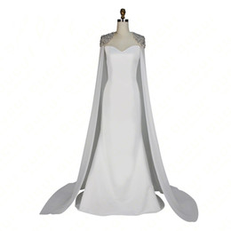 $enCountryForm.capitalKeyWord NZ - Fashion Celebrity White Carpet Dress With Cape Floor Length Free Shipping 2017 Winter Collection Mermaid Style Evening Gown