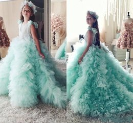 Robe Verte De Menthe D'adolescents Pas Cher-Mint Green Ball robe robe de demoiselle d'honneur avec des arcs fée Custom Made Girls Pageant robes pour les adolescents