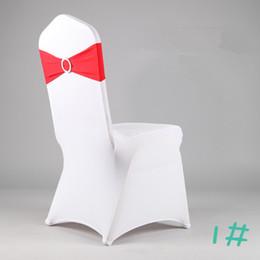 Venta al por mayor de 100 UNIDS DHL ENVÍO LIBRE terminado borde spandex lycra silla bandas elástica silla marco con hebilla para la boda