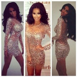 Short Voir À Travers La Robe Bling Pas Cher-Bling cristal court robe de bal à manches longues gaine robes de cocktail sexy voir à travers 2014 retour à la maison fête de noël