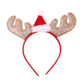 Barato Chapéus Animais Do Partido Para Miúdos-Natal Headband Hat Reindeer Xmas Party ORnament Presentes de Natal Kids Adults Elk Cartoon Headwear Chapéus de Natal