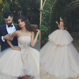 Barato Vestido Sem Alças Com Querida-2018 Elegant Sweetheart Strapless Vestidos de casamento sem mangas Lace Beaded High Low Lace-up Arab Layers Bridal Gowns