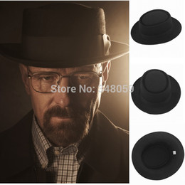 Blue felt hat online shopping - Fashion Men Classic Felt Pork Pie Porkpie fedora Hat Chapea Cap Upturn Masculino Black Ribbon Band panama hats Freeshipping