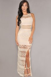 $enCountryForm.capitalKeyWord Canada - roupas femininas 2015 Sexy Women Summer Cream Crochet Accent Lace Long Gown Dress party evening elegant LC6674 vestido de festa