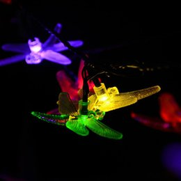 Wholesale RGB 20 LEDs Solar Powered Dragonfly LED Fairy String Lights  Outdoor Garden Party Solar Powered Dragonfly Garden Lights On Sale