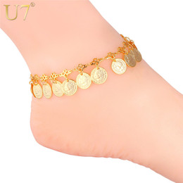 $enCountryForm.capitalKeyWord NZ - U7 Women's 2015 New Queen Head Coin Anklet 18K Real Gold  Platinum Plated Vintage Foot Bracelet Fashion Jewelry Free Shiopping 7-A930