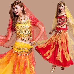Red Tassel Bracelet Canada - Hot New Egyptian Belly Dance Costume 4Pcs Top&Skirt&Waist Chain&Veil Bracelet Necklace Set Women'S Dance Clothing Bellydance Costume