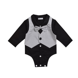3M-24M Black Baby Boys Funny Gentleman Bodysuit with Bow Tie on Sale