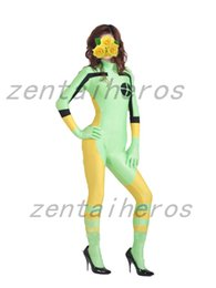 Barato Traje De Spandex Amarelo-Spandex Light Green and Yellow Rogue Superhero Costume