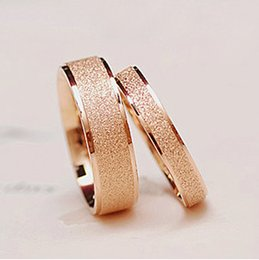 wholesale matte titanium steel rose gold plated ring finger ring tail ring of men and women in wedding jewelry lovers price for 2 pcs affordable gold