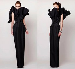 StrapleSS Silk gown online shopping - Azzi Osta Evening Dresses Sleeveless Women Vintage Prom Gowns Pageant Column Special Long Formal Sash High Neck Black Evening Dress