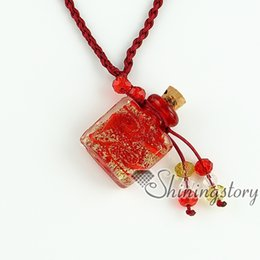 $enCountryForm.capitalKeyWord Canada - essential oil diffuser necklaces vintage perfume bottle pendant necklace wholesale glitter murano glass jewelry aromatherapy pendants neckla