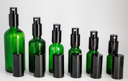Discount green glass bottles for - Wholesale 10ml-15ml-20ml-30ml-50ml-100ml Green Glass Spray Bottles Empty Sprayer Containers with Black Pump For Perfume