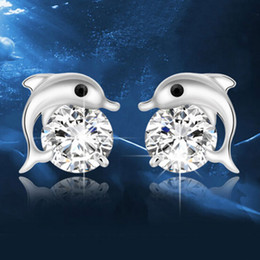 wholesale sterling silver jewelry dolphin NZ - Austrian Crystal Stud Earrings 925 Sterling Silver Dolphins Love Earrings for Women Wedding Party Jewelry Free Shipping
