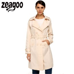 Barato Senhoras Trench Coat Xxl-Zeagoo 2017 Mulheres Trench Coat Windbreaker Lady Casual Double Breasted Long Dust Coat Winter Warm Trench Overcoat with Belt XXL