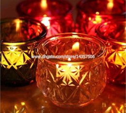 $enCountryForm.capitalKeyWord Canada - Romantic Colored Glass Candle Holder For Wedding European Simple Style Tea Light Holder for Home Bar Restaurant Decoration