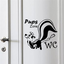 cartoon wall tiles for bathroom NZ - pups zone wall stickers toilet bathroom WC rooms decorations 362. diy vinyl home decals cartoon animal mural art posters 4.0