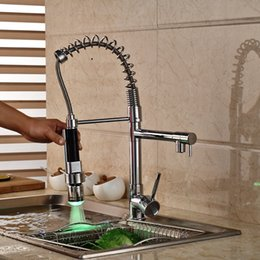$enCountryForm.capitalKeyWord Canada - LED Spout Chrome Brass Kitchen Faucet Spring Mixer Tap Hot and Cold Water Deck Mounted Dual Spouts