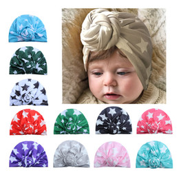 Little Hats Australia - 12 Colors Little Stars Print Child Ears Cover Hats Europe Style Baby Fashion Hat Baby Indian Hat Children Turban Knot Head Wraps Caps BK558