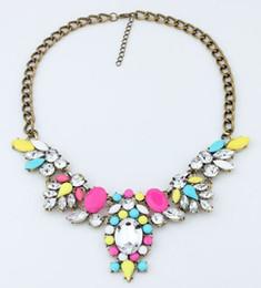 $enCountryForm.capitalKeyWord Canada - Summer Jewelry Fashion 6 Colors Brand Flower Choker Luxury Statement Rhinestone Necklaces For Women 2015 Necklaces & Pendants