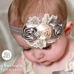 $enCountryForm.capitalKeyWord NZ - Cute Baby Girls' Flower Bow Hairband Cheap Children's Hair Accessories Rhinestones Satin Rose Flower Baby Girl Headband Hair Accessories