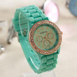 $enCountryForm.capitalKeyWord NZ - Fashion Shadow Geneva Rubber Wristwatches 3 eyes Crystal Diamond Jelly Rubber Silicone Watch Unisex Men Women Quartz Candy Jelly Watches