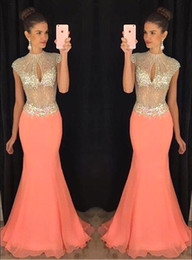 Discount coral sequin bodice prom dress - 2017 Coral Mermaid Prom Dresses Cap Sleeve Bling Bling Rhinestone Keyhole Bust Chiffon Evening Dresses Illusion Bodice F