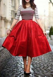 Tea Party Dresses White Canada - Red Skirts Tea Length Elastic Waist Pleats Satin Spring Summer Autumn Wear Party Dresses For Women Customized Casual Dresses Party Evening
